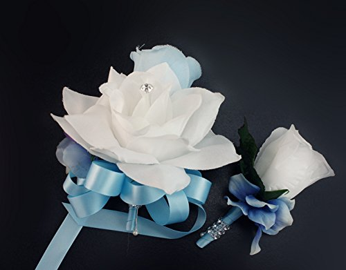 2pc Set - Pin Corsage and Boutonniere - Baby Blue and White Rose Hydrangea