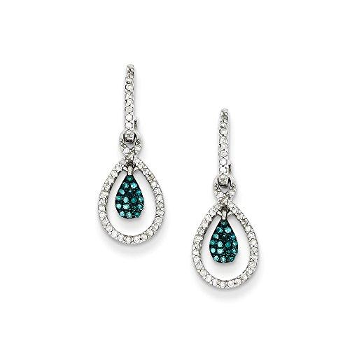 Blue & White Diamond Double Teardrop Sterling Silver Dangle Earrings