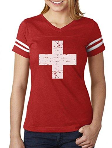 Vintage Switzerland Flag Retro Style Swiss Women Football Jersey T-Shirt Small red/White