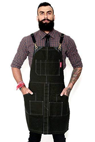 Under NY Sky Cargo Petroleum Black Apron  Cross-Back with Heavy-Duty Waxed Canvas, Leather Reinforcement and Split-Leg  Adjustable for Men, Women  Pro Woodworker, Mechanic, Welder, Artist Aprons