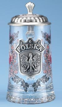 Polska Glass Beer Stein with Pewter Lid and Pewter Medallion by M. Cornell ()