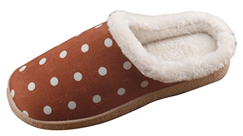 2015 New Blubi Mens Casual Polka Dots Skid-proof Fleece House Slippers Bedroom Slippers Chocolate Y1vDIF