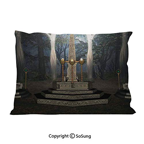 - Gothic Bed Pillow Case/Shams Set of 2,The Ritual Scenery in Secret Forest Obelisk Between Marble Thrones with Skull Engraving King Size Without Insert (2 Pack Pillowcase 36
