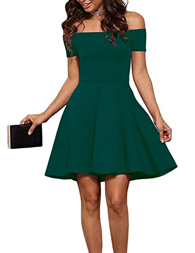 (EZBELLE Womens Casual Off The Shoulder Short Sleeve Party Cocktail Skater Dress Dark Green 2X-Large)