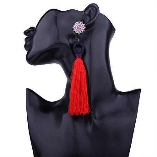 qualité d'oreilles en ligne bohème or longues Red personnalité frangée ethnique boucles d'oreilles Femmes de d'oreilles boucles boucles 6fqPfC