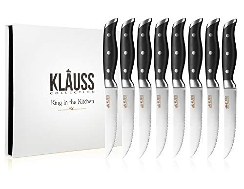 (Klauss Collection Steak Knives Set of 8, Premium German Stainless Steel Full-Tang Blade and Solid Riveted Handles)