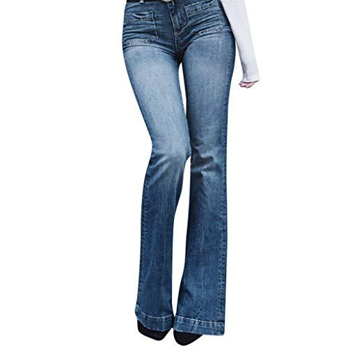 (WENSY Fashion Bell Bottom Jeans for Women Slim Elastic Loose Denim Double Pocket Casual Boot Cut Horn Pant Jeans(Blue,XL))
