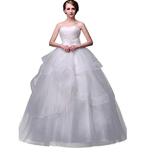 WeWind Damen Trägerloses Brautkleid mit Stickerei Organza Tüll Taille Hochzeitskleid Schlank Bodenlang zOnXGts5K