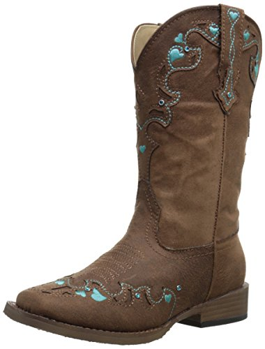 Roper Hearts Square Toe Cowgirl Boot (Toddler/Little Kid), Brown, 10 M US Toddler