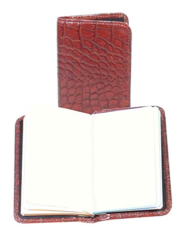 Scully Croco Leather Personal Blank Paged Noter (Brown)