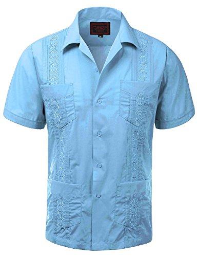 Guayabera Mens Haband Cuban Wedding Short Sleeve Button-up Shirt Light Blue-s (Button Wedding)