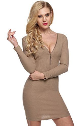 Bodycon Club Dress Sexy Neck Sweater Coffee Mini V Zeagoo Zipper Party Front Women fRqwx1Ya