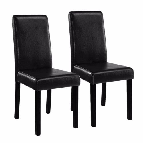(Black Elegant Design PU Leather Contemporary Dining Chair Room Set of (2) )