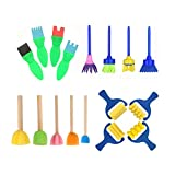 INTVN Roller Sponge Brushes - Assorted Painting Drawing Tools DIY Graffiti Craft Sponge Brushes Kit for Preschool Craft DIY Art Supplies - 17 PCS