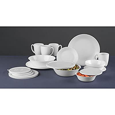Corelle 24 Piece Livingware Dinnerware Set with Storage,Winter Frost White, Service for 4 (24 Piece Set)