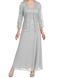 Pretygirl Women's Lace Mother of the Bride Evening Prom Dress Gown with Shawl