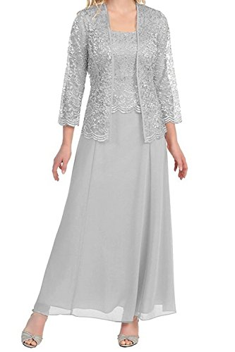 Pretygirl Womens Lace Mother of The Bride Evening Prom Dress Long Formal Gown with Jacket(US 20W, Silver Grey)