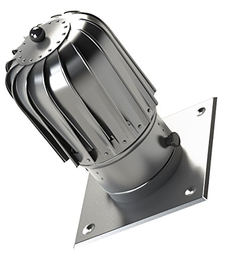 150mm Slim Chimney Flue Spinner Aluminium Plug-in Spinning Cowl with Extra Roof Plate