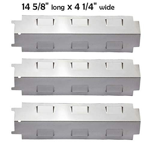 YIHAM KS734 Gas Grill Stainless Steel Heat Plate Shield Tent, Burner Cover Flame Tamer, BBQ Replacement Parts for Charbroil, Brinkmann, Kenmore, Master Forge, 14 5/8 inch x 4 1/4 inch, Set of 3 (Parts For Master Forge Grill)