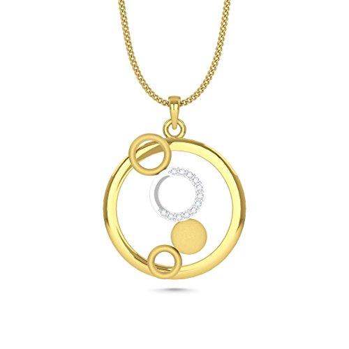 Mezzotek 18K Women's Real Diamond Studded Gold pendant ( 4 Rings & 1 Disc Shaped)