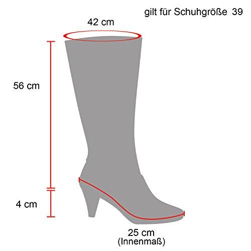 Stiefelparadies Damen Stiefel Overknees mit Blockabsatz Gefüttert Flandell Schwarz Agueda