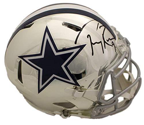 (Tony Romo Autographed/Signed Dallas Cowboys Chrome Replica Helmet BAS)