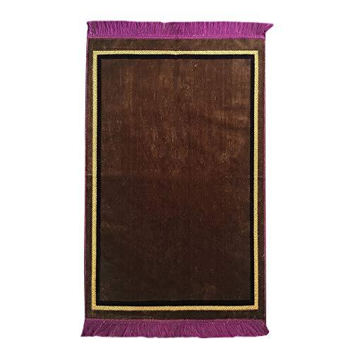 "(Al Arabia Plain Muslim Prayer Rug - Plush Velvet Fabric - Features Rectangle Design & Fringes On Both Sides - Islamic Prayer Mat - Ideal Gift for Ramadan & Special Occasions, 44 x 27"", Light Brown)"