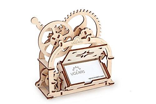 Ugears Mechanical Etui 3Dパズル、木製のビルディングブロック、装飾的なデスクトップの名刺ホルダー、十代の若者のための脳ティーザーゲーム