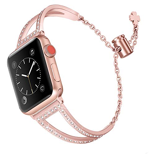 Secbolt Bling Bands Compatible Apple Watch Band 38mm 40mm Iwatch Series 4/3/2/1, Women Stainless Steel Metal Jewelry Bracelet Bangle Wristband, ()