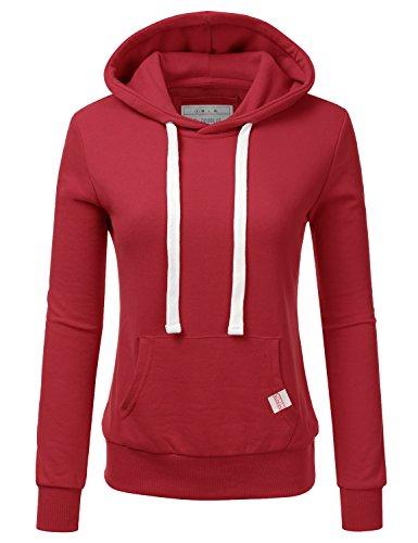 (Doublju Basic Lightweight Pullover Hoodie Sweatshirt for Women RED 3X Plus Size)