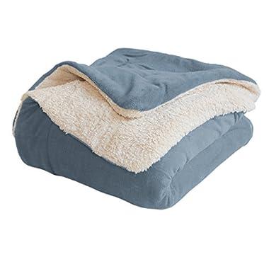Luxor Linens Luxury Throw Blanket - Soft Reversible Light Blue Sherpa Blanket - Velvety Soft Fleece Throw Blanket for Your Couch, Sofa or Bedroom