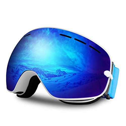 (Innens Ski Snowboard Goggles Fit Men and Women, Anti-Fog Windproof UV400 Snow Goggles - Skiing, Snowboarding, Cycling (Spherical Purple Lens - 22% VLT))
