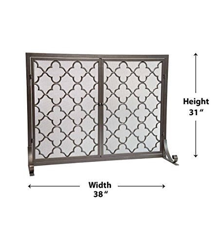 Small Geometric Screen with Doors, 38''W x 31''H, in Bronze by Plow & Hearth (Image #2)