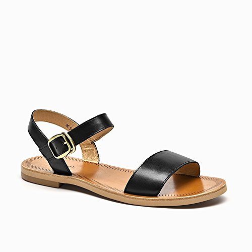 - Horly Leather Sandals Flat Sandals Women Genuine Cow Leather Slingback Buckle Strap Summer Shoes Handmade Sandals,6