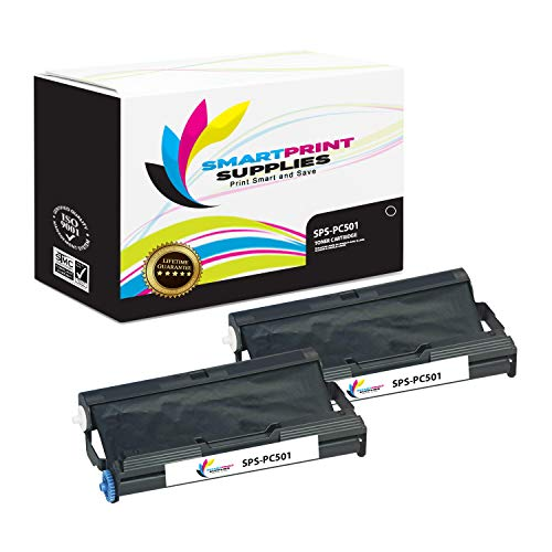(Smart Print Supplies Compatible Brother PC501 Black Ribbon Cartridge for Fax 575 Printer 5M Characters (2 Pack))