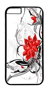 Red Flower PC Case Cover for iphone 6 Plus 5.5inch - Black