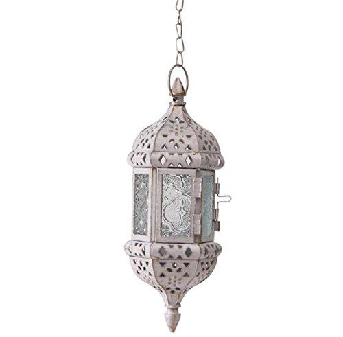 - LANLONG Moroccan Vintage Metal Hollow Wedding Hanging Candle Holders Lantern| Contain 40cm Chain (Black) (White)
