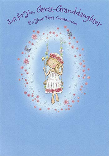 Designer Greetings Girl on Swing 1st / First Communion Card for Great-Granddauther