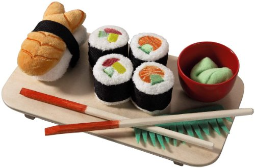 - HABA Biofino Sushi Soft Play Food 10 Piece Set with Serving Board and Chopsticks