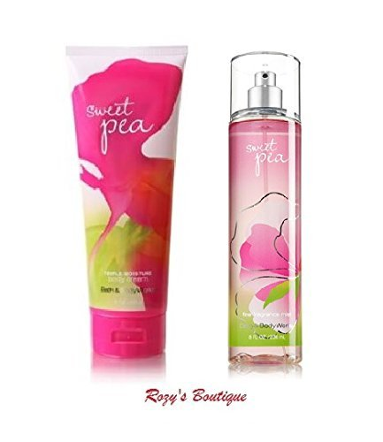 Bath & Body Works Signature Collection SWEET PEA Gift Set Triple Moisture Body Cream & Fragrance Mist ()