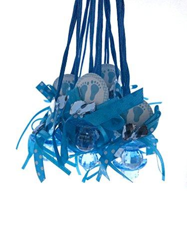 Baby Shower Pacifier Necklace Game Favor, Blue Feet Print 12 pcs]()