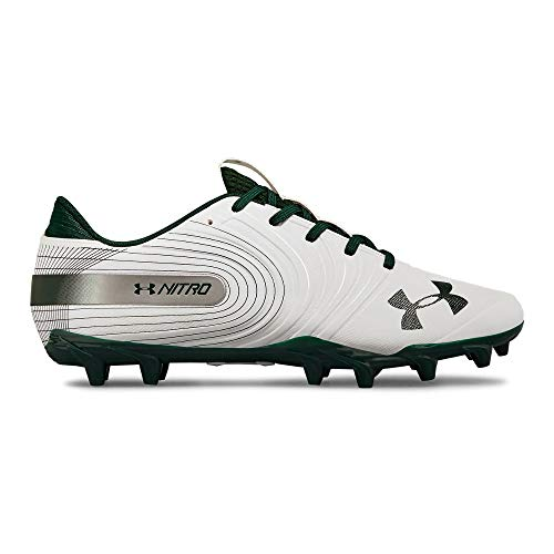 Under Armour Men's Nitro Low MC Football Shoe, White (102)/Forest Green, 14 ()