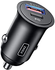 Car Charger, INIU [Total 60W] 5A QC 3.0 PD Fast Charge USB C Car Charger, All-Metal 2-Port [USB C + USB A] Mini Car Adapter for iPhone 13 12 11 Pro X 8 iPad Samsung S21 S10 Macbook Airpods Google etc.