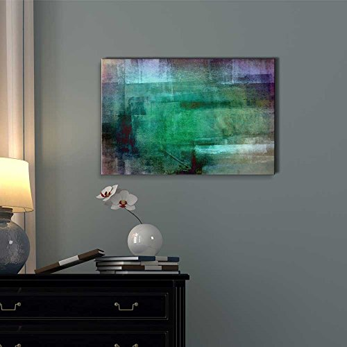 Abstract Painting of Shades of Green and Grey