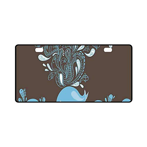 YOLIYANA Whale Utility License Plate,Baloon Like Whale in The Ocean with Bubbles Cartoon Batik Tribal Style Image for Car,11.8