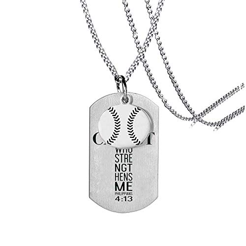 MIAOGIFT Athletes Religion Necklace Baseball Player Necklace Baseball Pendant Stainless Steel Dog Tags,I Can Do All Things Inspirational ()