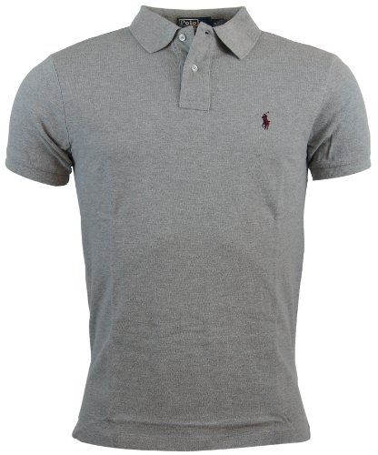 Polo Ralph Lauren Mens Custom Fit Mesh Polo Shirt   M   Gray
