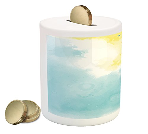 Starfish Coin Box Bank By Ambesonne  Holiday In The Hawaii Watercolor Art Dreamy Seacoast With Colorful Starfishes  Printed Ceramic Coin Bank Money Box For Cash Saving  Multicolor