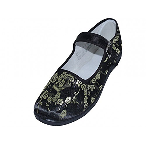 Womens 11 Easy Mary Ballerina Jane Plum Flower 113 Flats Ballet China Doll Usa Black Cotton Shoes Colors 45wPFqTw