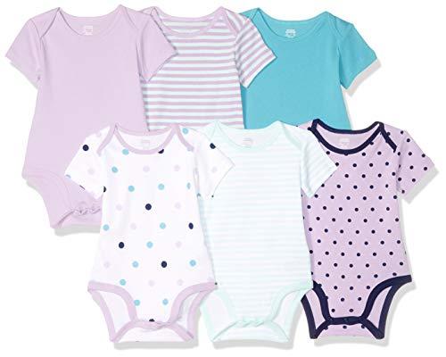 Amazon Essentials Baby Girls 6-Pack Short-Sleeve Bodysuit, Dots, 3-6M ()